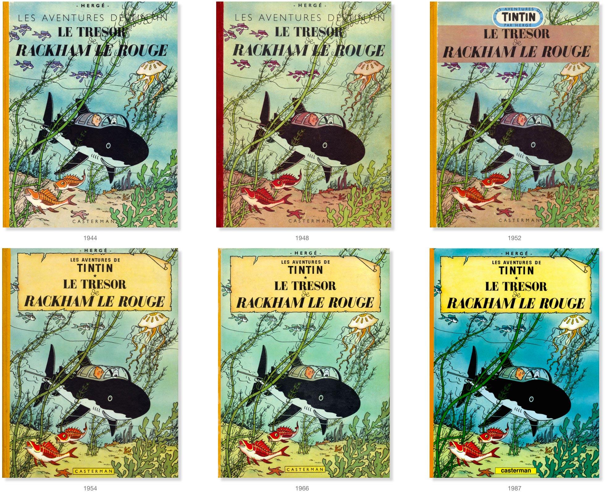 Les couvertures de Le Trésor de Rackham Le Rouge de 1944 à 1987