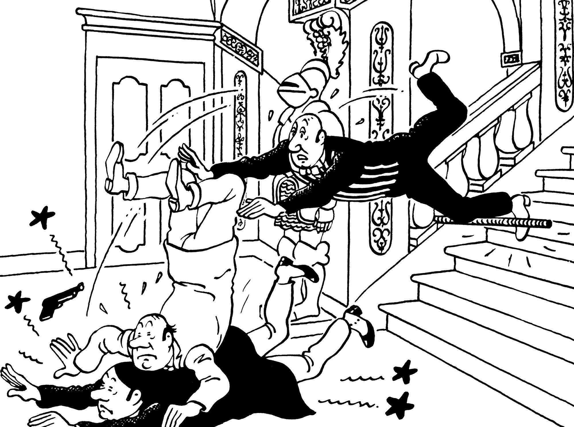 Le gag de la marche des escaliers avec Nestor dans Les Bijoux de la Castafiore