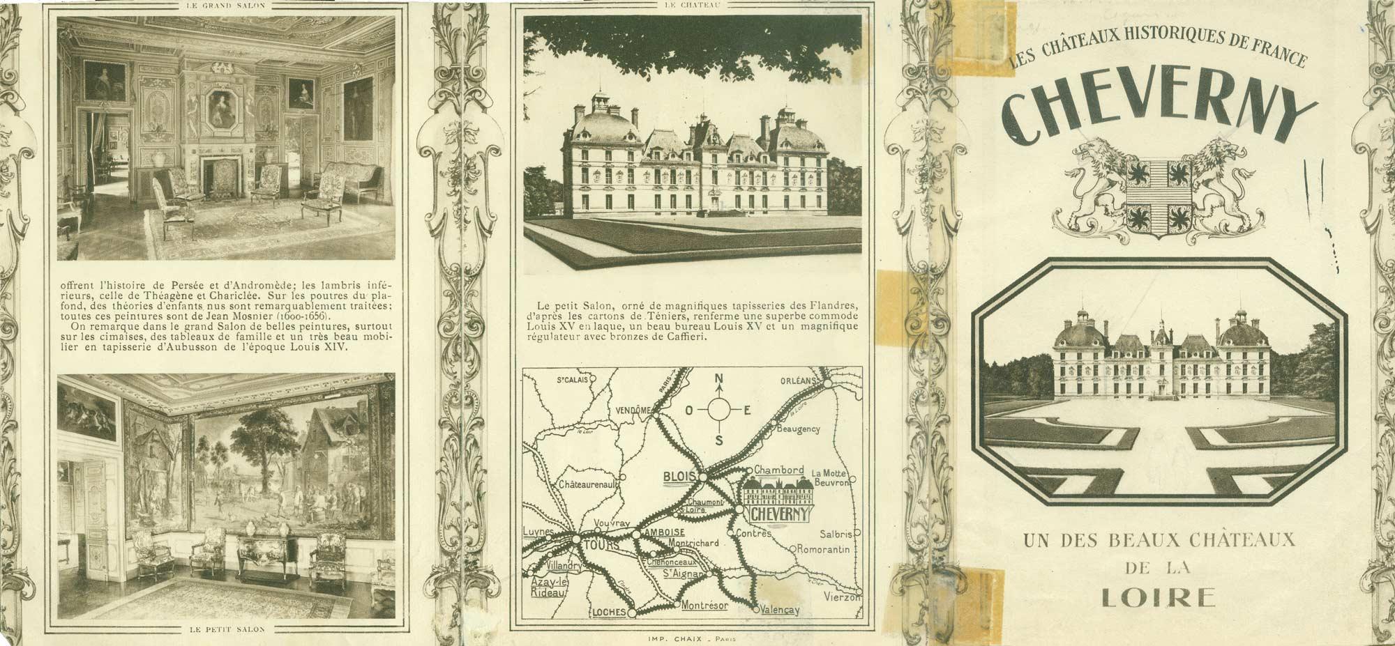 Dépliant de promotion pour le château de Cheverny recto