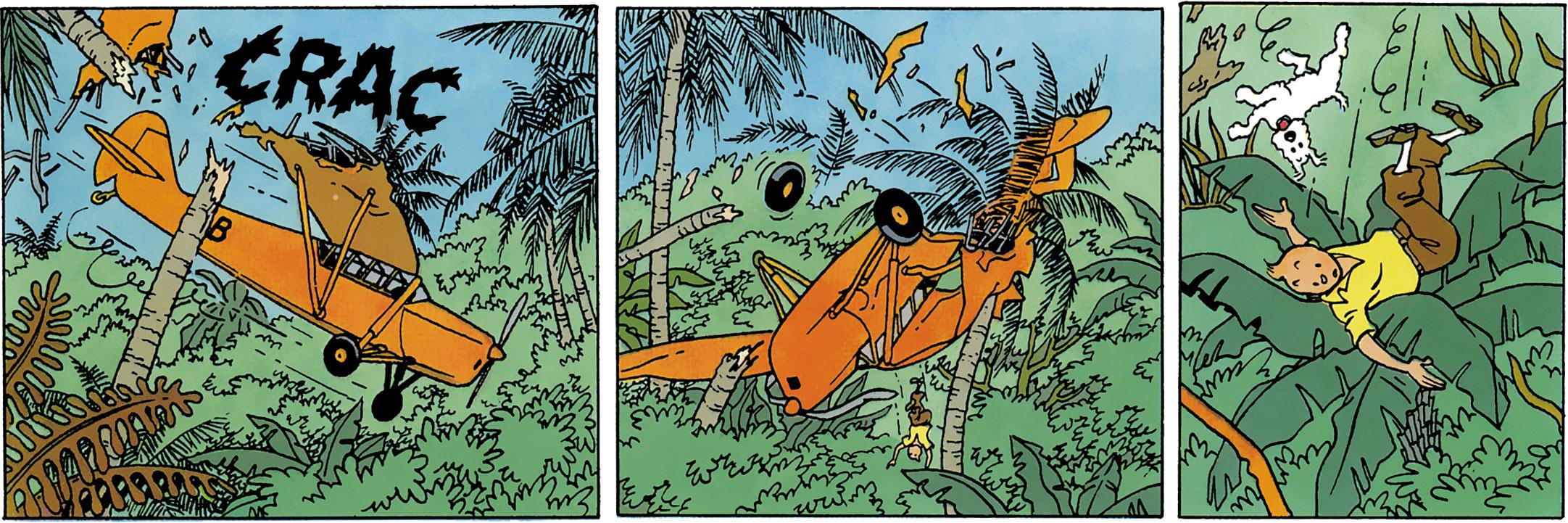 Cases des Cigares du Pharaon où l'avion de Tintin s'écrase dans la forêt en Inde