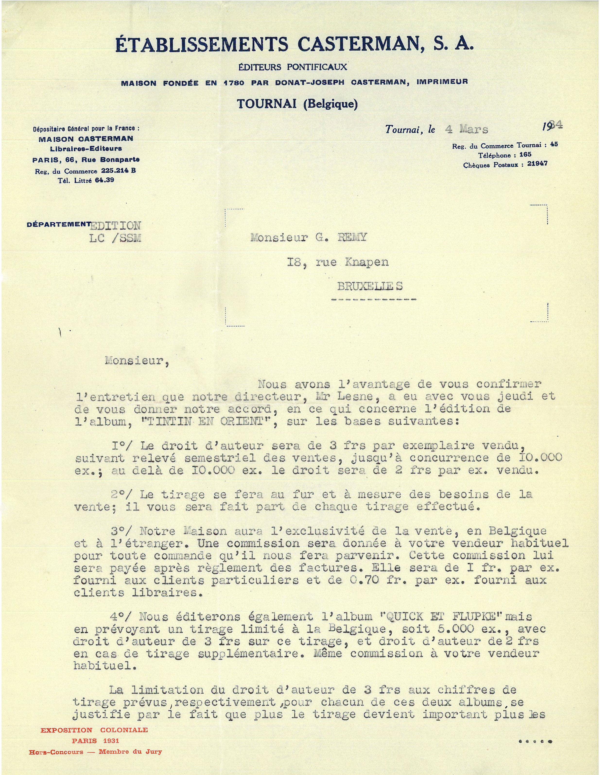 Hergé lettre de proposition de collaboration avec Casterman