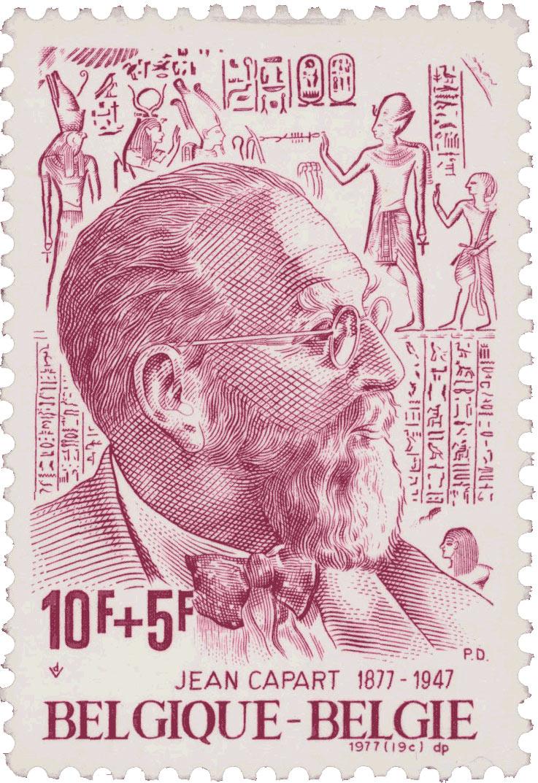 Timbre-poste belge pour le 100e anniversaire de la mort de Jean Capart, égyptologue Belge