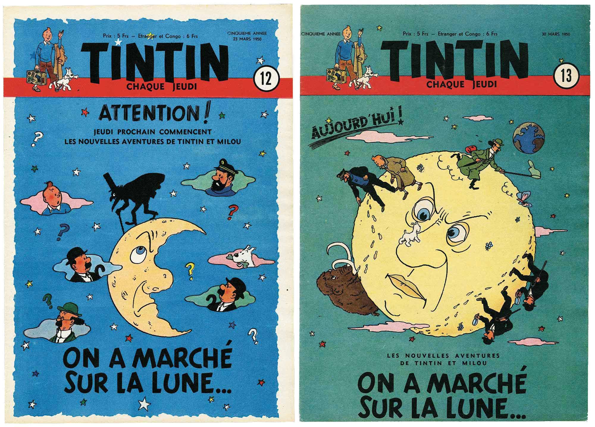 Couverture du Journal Tintin pour On a marché sur la Lune