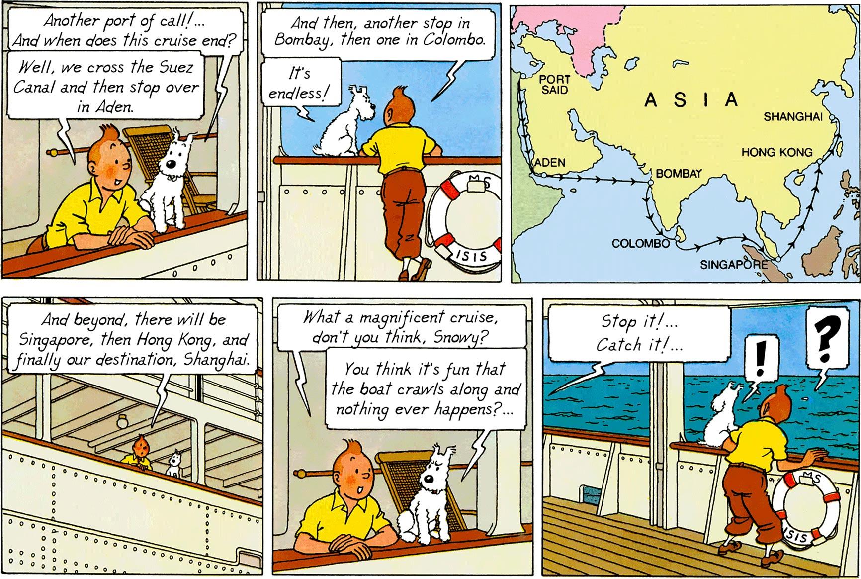 Tintin talks with Snowy