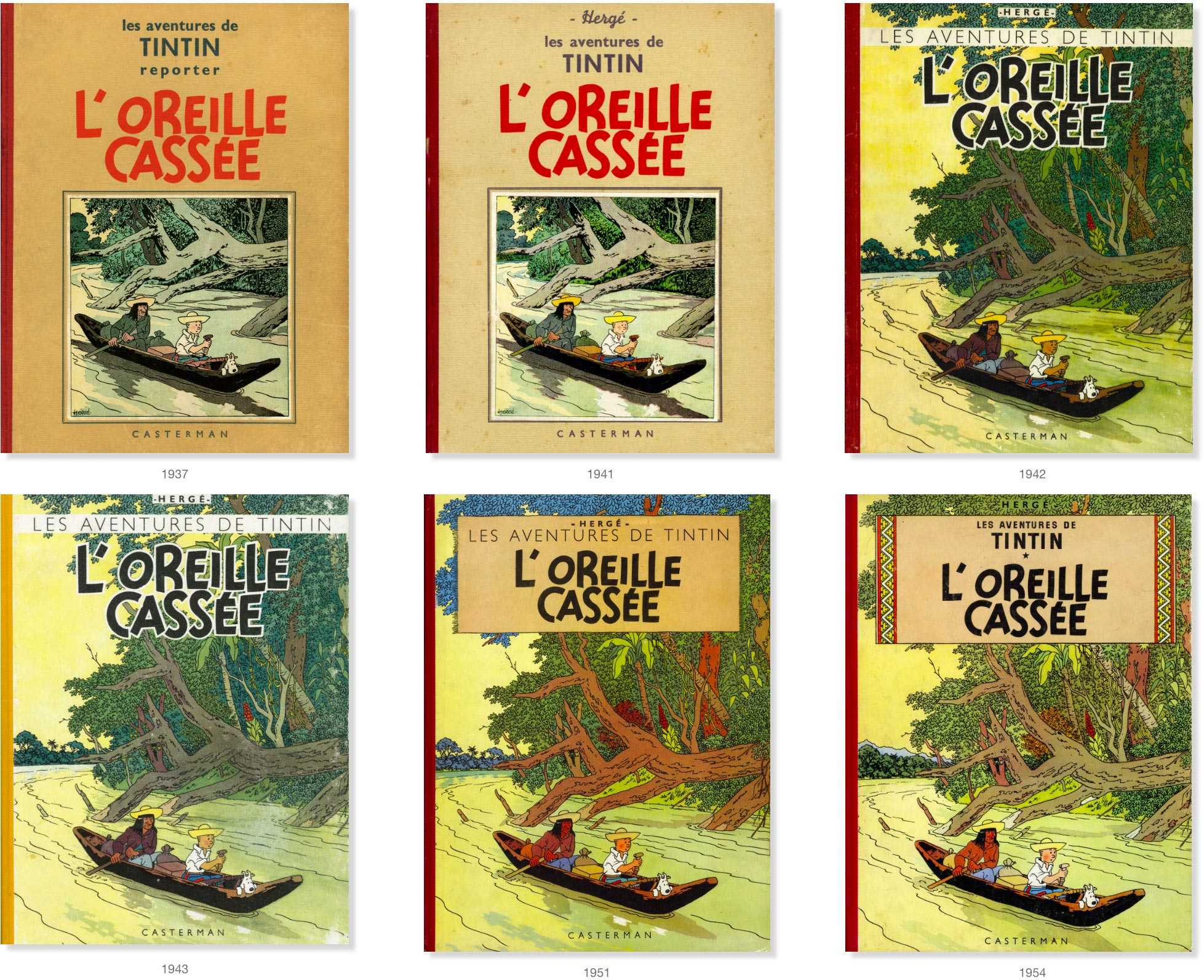 Covers of The Broken Ear in French by Hergé