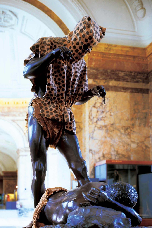 Tintin au Congo hors texte homme léopard au Musée de l'Afrique
