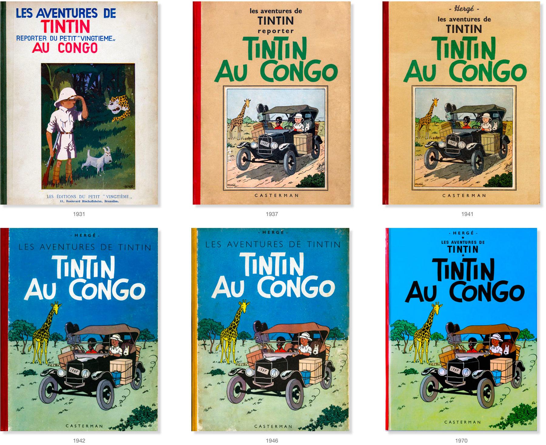 Tintin au Congo - Les versions des couvertures des albums de 1931 à 1970