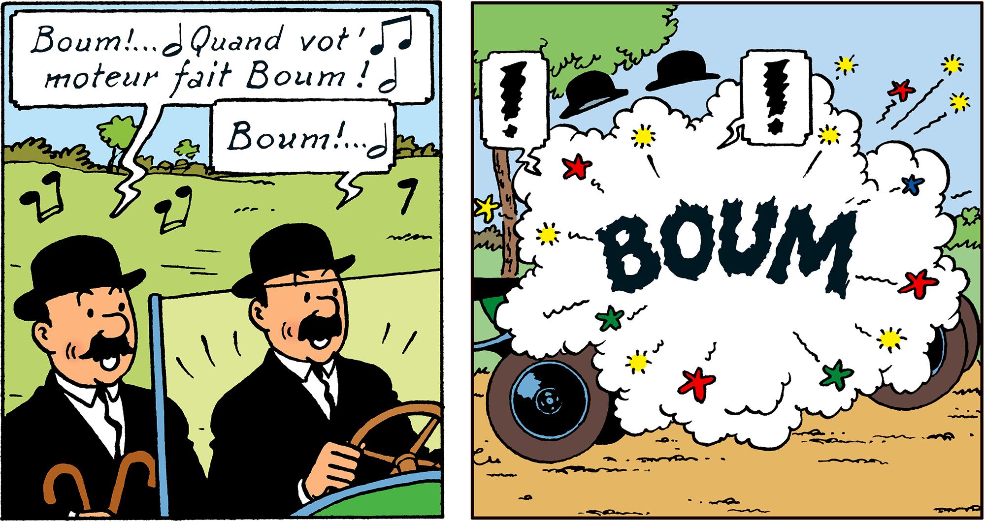 La voiture des Dupondt fait BOUM dans Tintin au pays de l'or noir - page