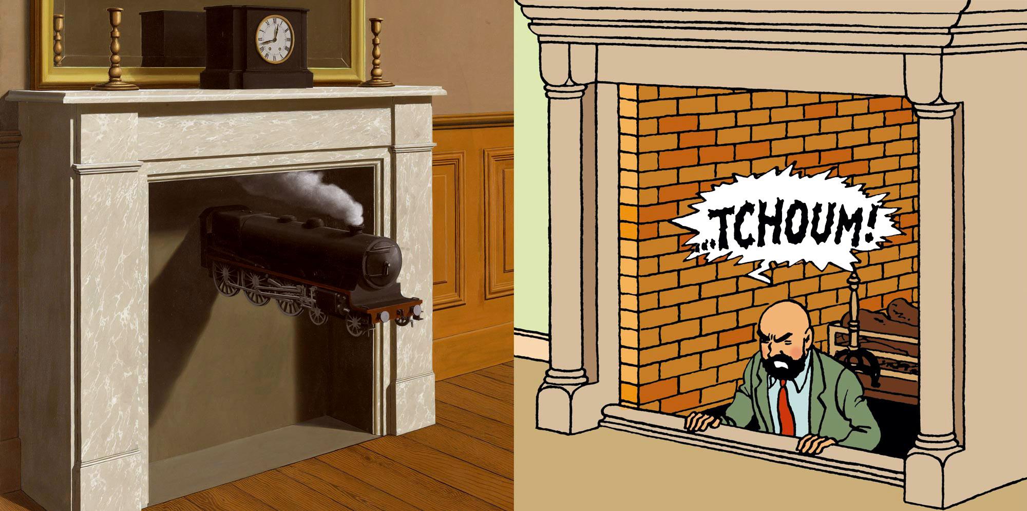 La Durée Poignardée et Müller sort de la cheminée dans Tintin au pays de l'or noir