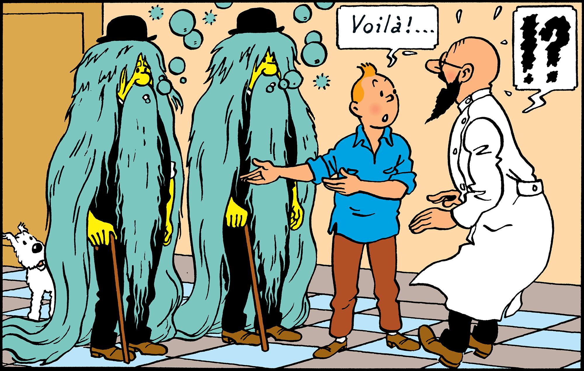 Les Dupondt cheveux longs dans Tintin au pays de l'or noir