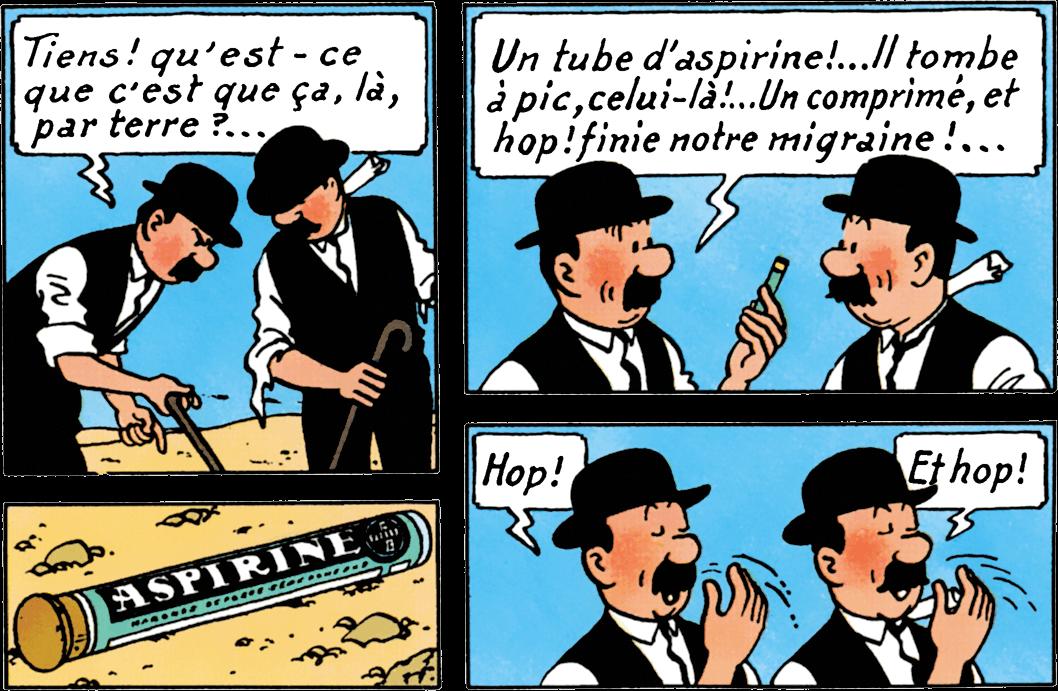 Les Dupondt aspirine dans Tintin au pays de l'or noir