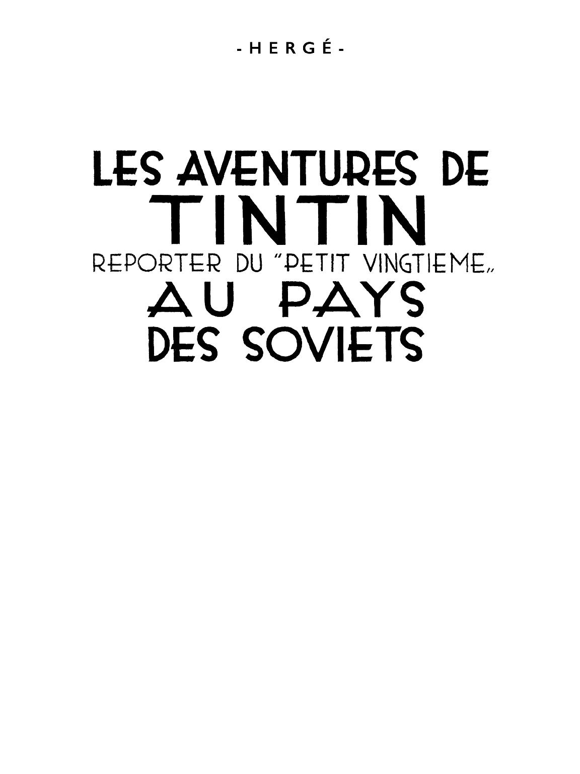 Tintin au Pays des Soviets - page titre
