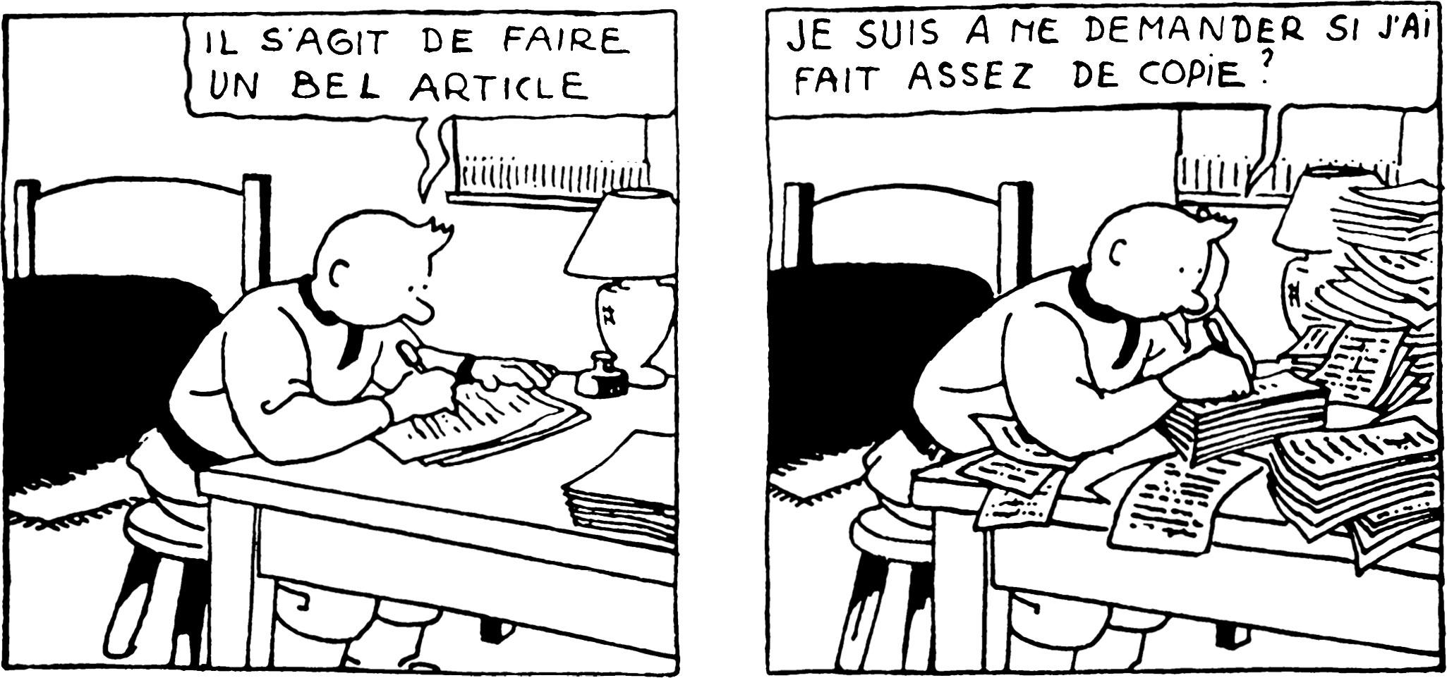 Tintin au pays des Soviets Il s'agit d'écrire un bel article
