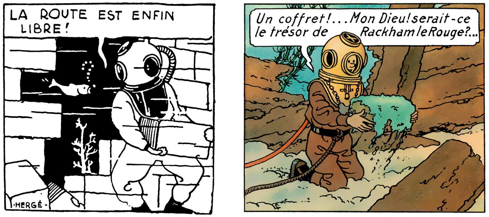 Tintin au pays de Soviets Le Trésor de Rackham le Rouge scaphandre