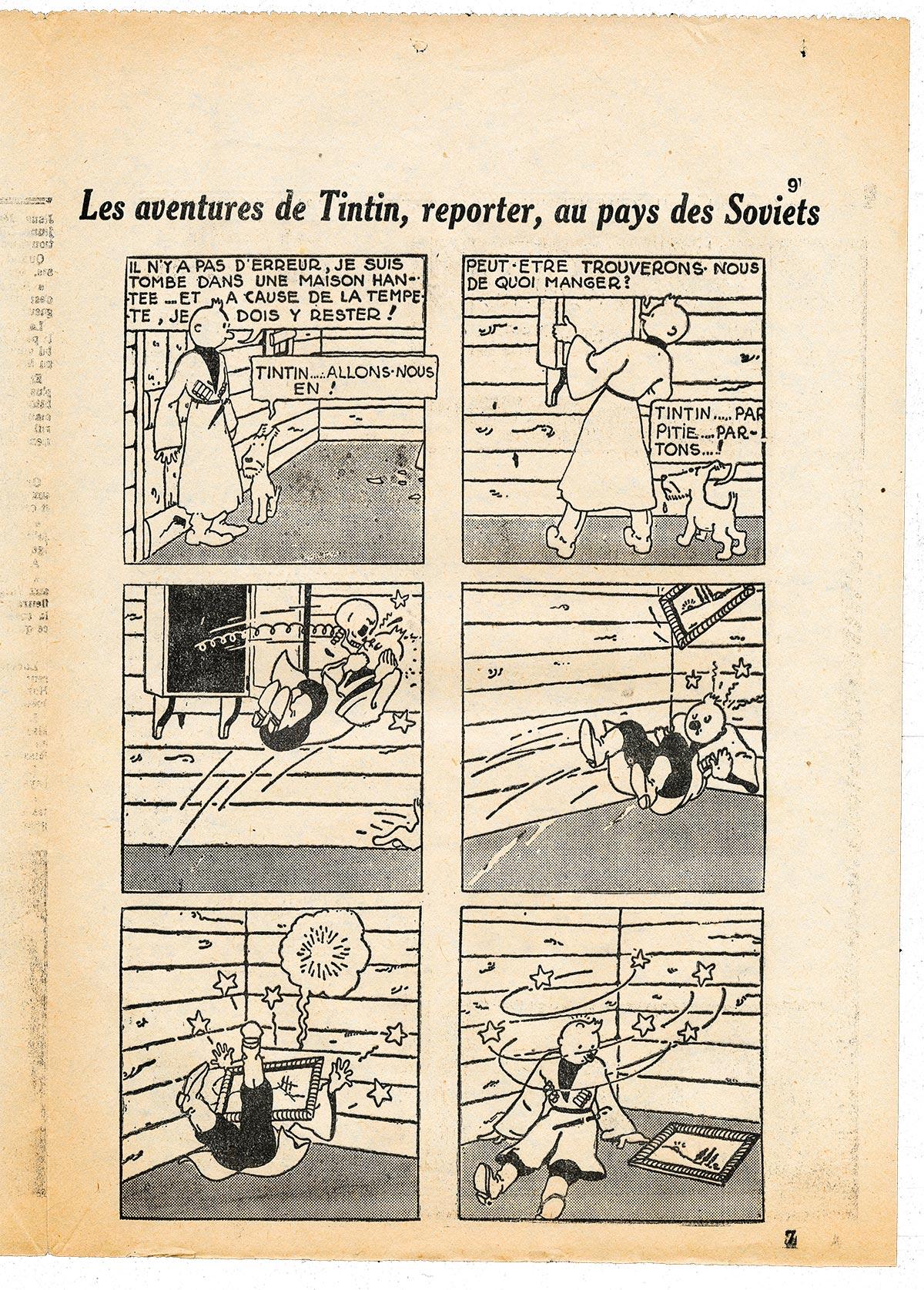 Tintin au pays de Soviets la planche disparue