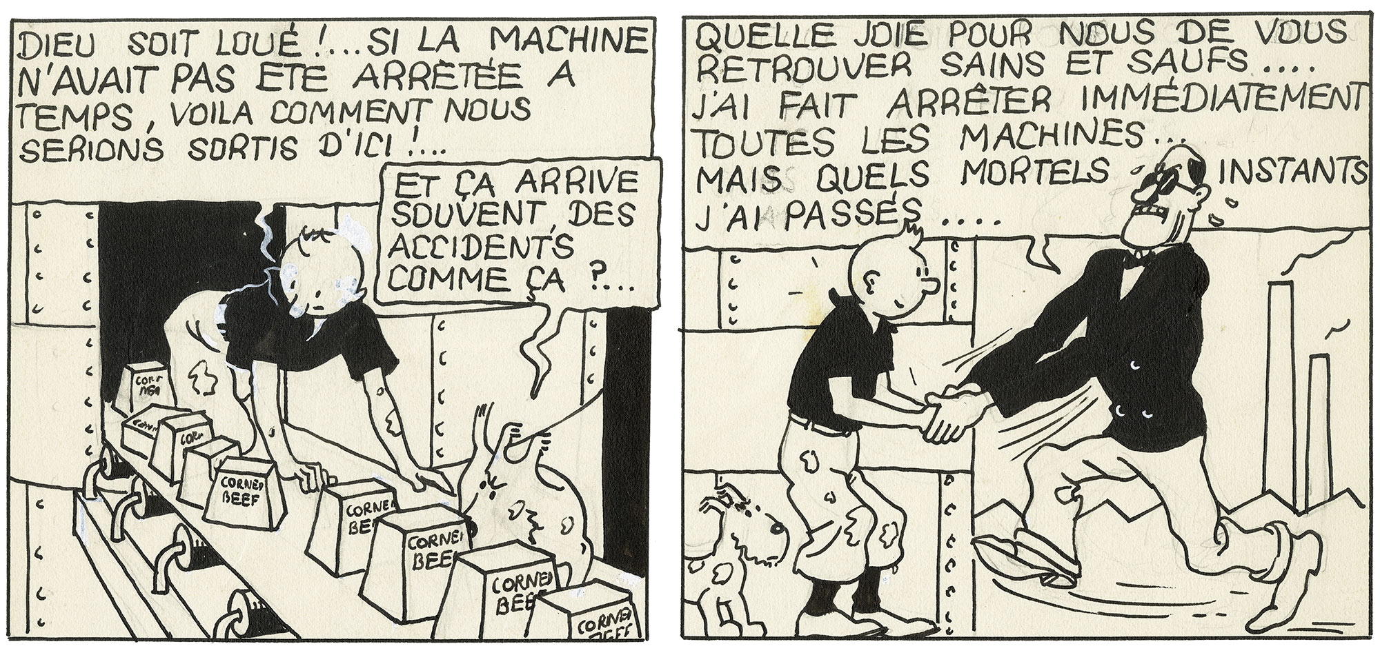 Cases de Tintin en Amérique version noir et blanc