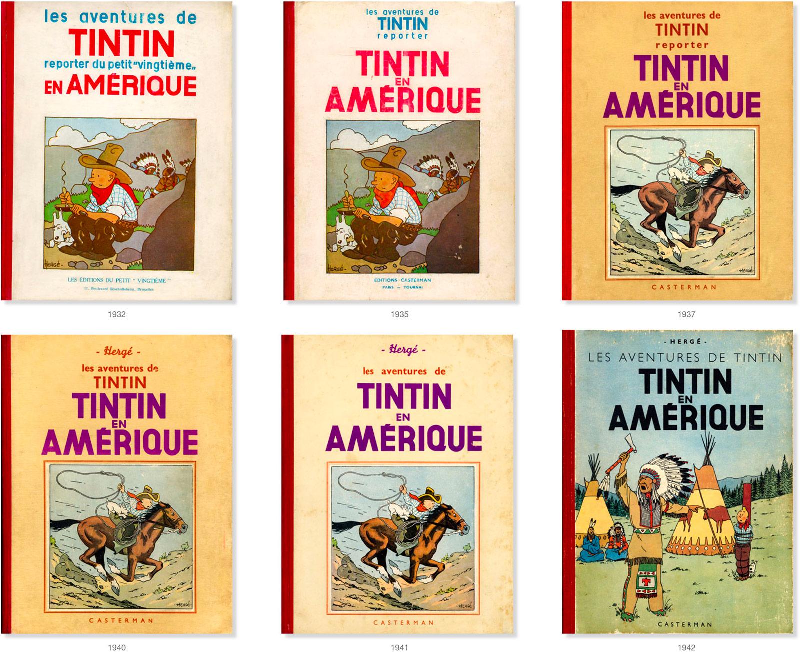 Les couvertures par années de l'album Tintin en Amérique