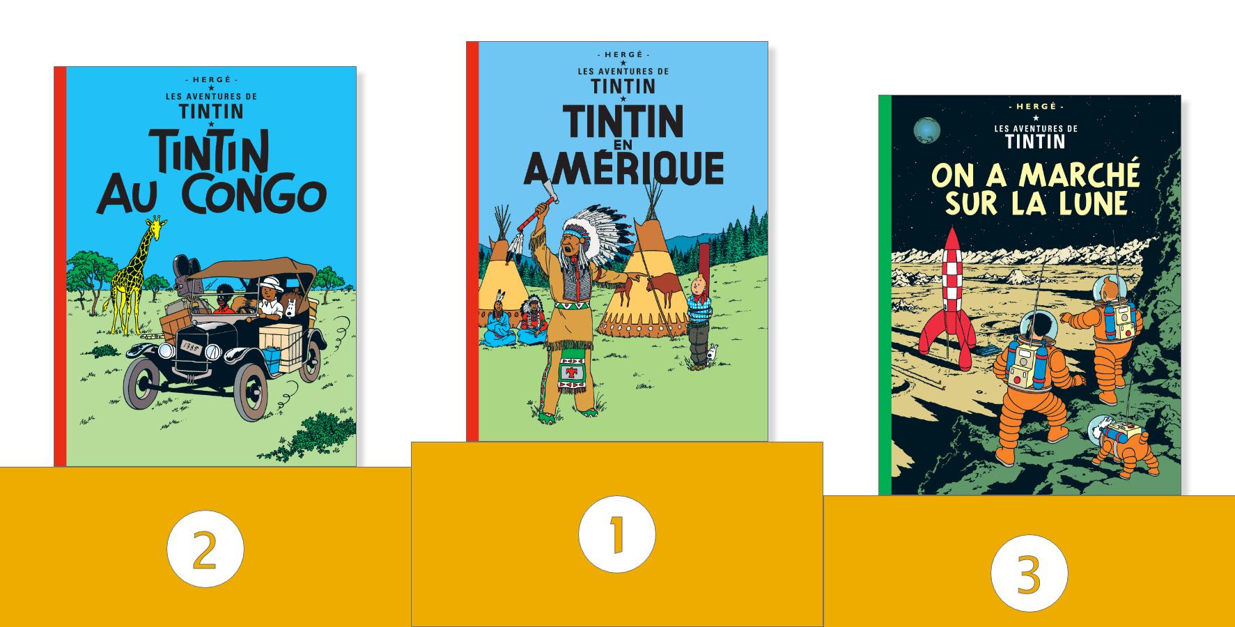 Les Aventures de Tintin au Congo - Tintin en Amérique - On a marché sur la Lune