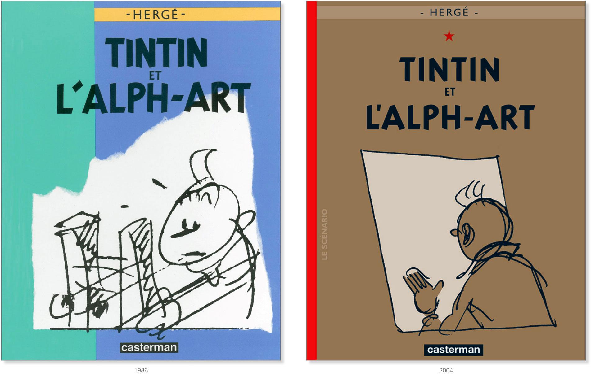 Les couverture de 1986 et 2004 de Tintin et l'Alph-Art par Hergé
