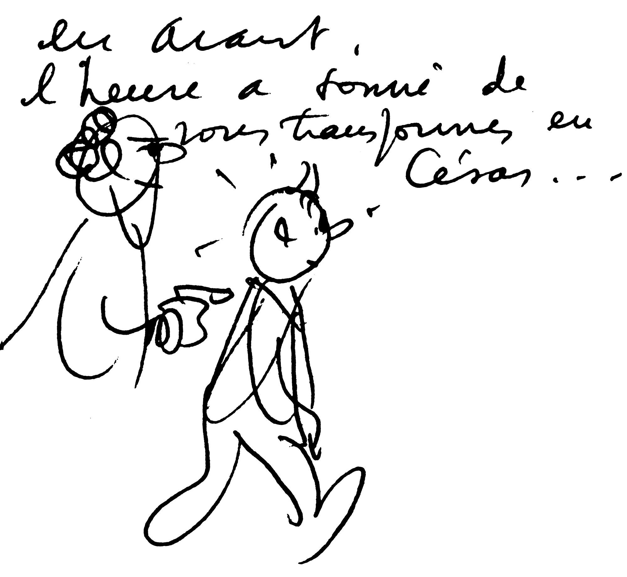 Tintin crayonné d'Hergé dans Tintin et l'Alph-Art