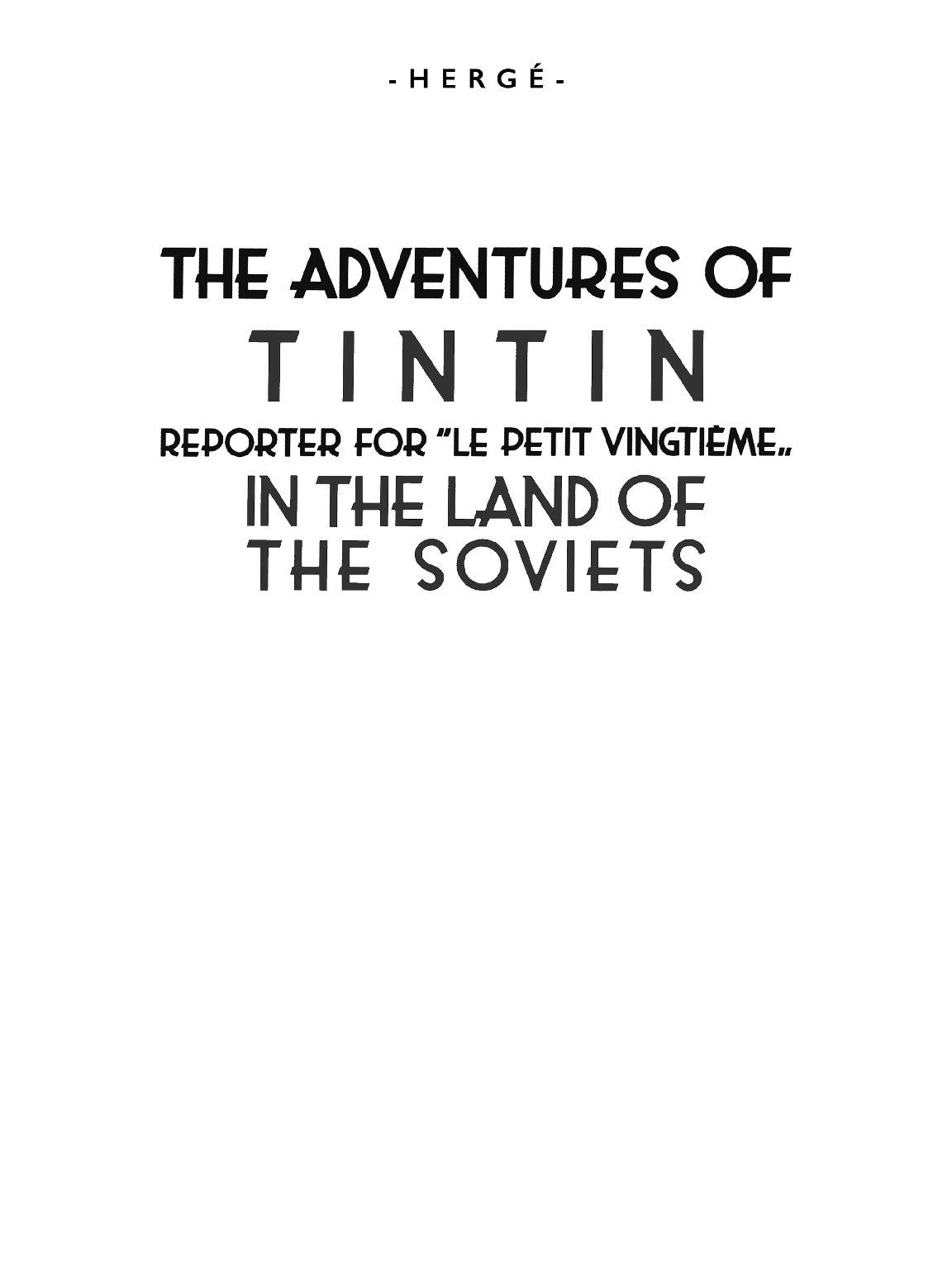 Tintin in the Land of the Soviets - Title page