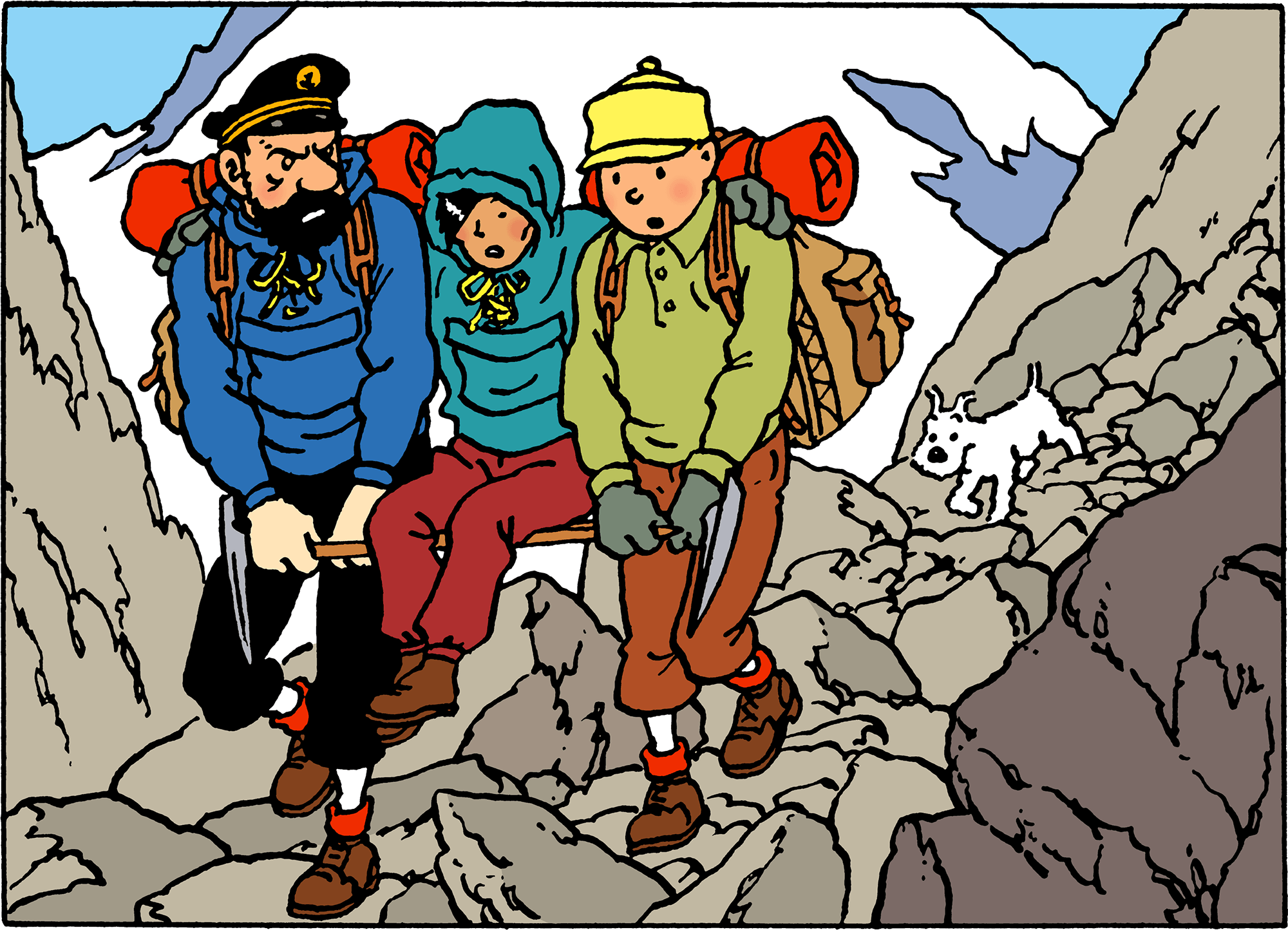 Tintin in Tibet - Haddock, Tchang and Tintin